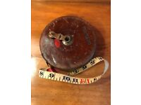 Vintage Leather Chesterman Sheffield Tape Measure - Military issue circa 1955 - 100ft