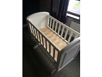 White glider crib/cradle