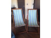 Beautiful 2x Striped Deck Chairs (Price new: £70)