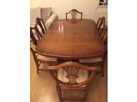 Price dropped! Solid Yew Extending Dining table + chairs, Extra Wide + Custom Made