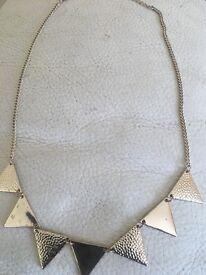 Gold colour triangular necklace