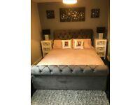 High Quality Sleigh Steel buttoned Headboard and mattress