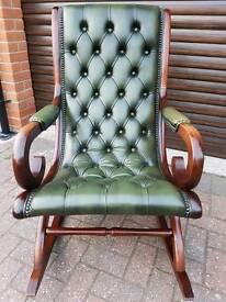 Chesterfield genuine leather rocker/slipper chair. EXCELLENT CONDITION!BARGAIN!