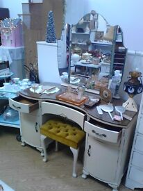 Vintage shabby chic up-cycled dressing table and stool.