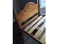 Wooden bed frame with free mattress if required!
