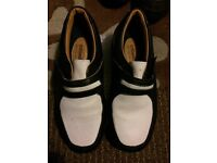 Ladies navy and white leather golf shoes