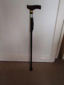Black metal folding and adjustable walking stick