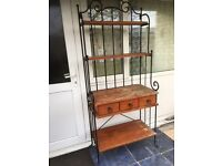 Shelf drawer unit wood and metal very heavy ideal shabby chic kitchen 6 ft high 32 in wide 16 in dep