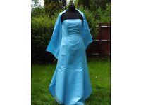 UK Size 12 YVE London Designer Stunning Blue Prom Party Evening Occasion Dress