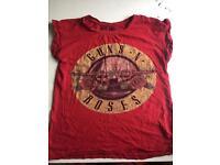 Women's Size 8 Red Guns N Roses T-Shirt