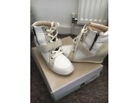 Dune ankle wedge boots in off white