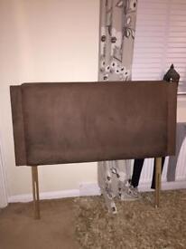 Brown suede headboard double bed