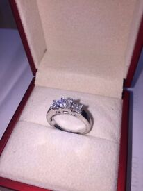 18ct white gold princess cut diamond ring, excellent diamond quality, professional valuation