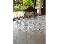 """""""The Snowdove Crystal Champagne Flutes"""" By Igor Carl Faberge For Franklin Mint - Set Of 12"""