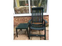 Two Steiner green reclining folding garden chairs plus one side table