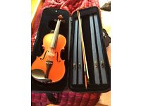 TWO FULL SIZE VIOLINS FOR SALE - WITH BOWS AND SPARE STRINGS