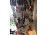 KITCHEN CURTAINS WITH TIEBACKS & MATCHING PELMET.THICK QUALITY FULLY LINED 72x44