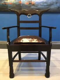 Black Wooden Cow Print Chair