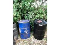 Three oil drums £10 each .