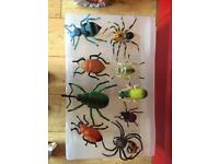 Selection of plastic toy Beatles & spiders