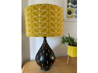 substantial size table lamp with brand new 40cm drum shade in Orla Kiely dandelion linear stem