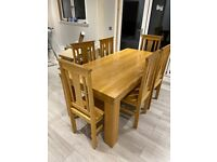 Oak dining table and 6 chairs dining set