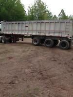 Aluminum 36' tri axle end dump trailer.