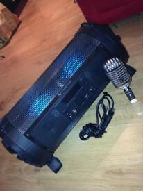 Intimidation bluetooth speaker with retro microphone