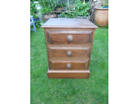 Solid Pine Bedside Table,3 Drawer Small Chest of Drawers-Furniture-Upcycle