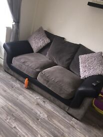 Grey and leather Sofa