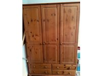 Wooden 3 Door Wardrobe with 4 drawers and hanging rail