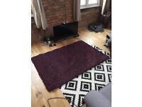 Thick pile purple rug 170x60cm