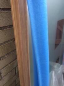 Sliding wardrobe door mirrored glass oak trim