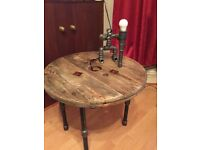 Rustic hand made coffee table for sale lamp sold separately.