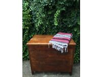 Large Wooden Storage Trunk Antique Chest Toy Box Cabinet Blanket Cushion Lid
