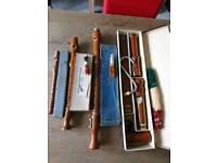 Wooden recorder quartet.