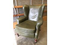 Beautiful Green Leather Denbigh Style Wing Back Armchair