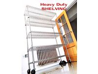 CATERING RACK SHELF SHOP FITTING 6 SHELVES CHROME HEAVY DUTY STOCK DISPLAY STORE STORAGE