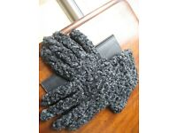 Gloves, Size 7, QUALITY, Made in Italy - Leather, Textured Wool & Cashmere Lining