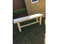 Handmade solid wood two seater garden bench