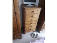 Ducal pine tall chest of 6 drawers