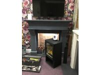 EX-DISPLAY FIREPLACE grey granite 60 inch fireplace can also be fitted with insert stove multifuel