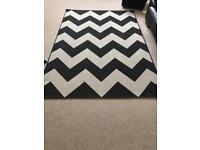 Large Black and White Chevron Rug