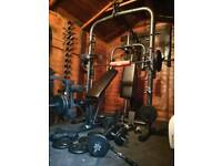 Domyos smith machine, pec deck, pulley, 142 kg weights, bench, EZ bar, dummbells