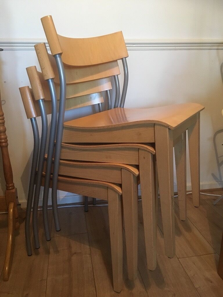 4 Nordisk Ikea Stackable Chairs For Sale In Greenwich