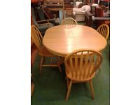 Round Wooden Extending Table and 4 Chairs