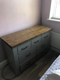 Solid oak wardrobe and drawers