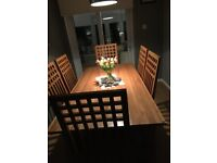 Solid Oak Wood Dining Table & 6 Chairs
