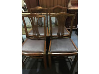 Attractive Set of Four 1940's Solid Oak Carved Splat Back Dining Chairs