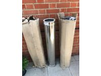 """3 New 6""""/1000mm Twin Stainless Steel Chimney Flue"""